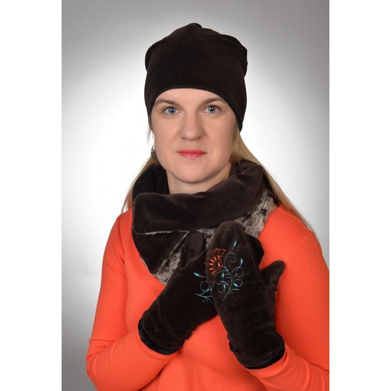 Moteriškas veliūrinis rinkinys (kepurė, šalikas, pirštinės)